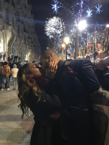 Midnight Kiss Under the Fireworks in Paris on Champs - Elysses .. someone pinch me!